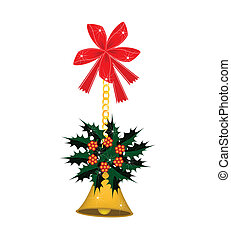 Golden Bell and Christmas Holly with A Bow
