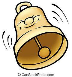 Golden Bell - colored cartoon illustration, vector
