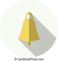 Golden bell flat icon