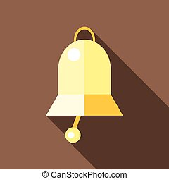 Golden bell icon, flat style - Golden bell icon. Flat...