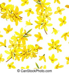 Golden Bell seamless pattern Forsythia suspensa, Easter tree, spring branch with blossoming yellow flowers. Vector illustration.