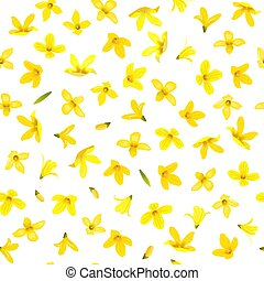 Golden Bell Seamless pattern, Forsythia suspensa, spring branch with blossoming yellow flowers. Vector illustration. Summer decor. for prints, posters, cards, textile, cosmetics wrapping packages
