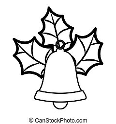 golden bell silhouette with christmas leaves