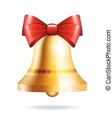 golden bell with a red bow