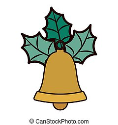 golden bell with christmas leaves