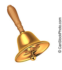 Golden bell with handle a wooden. This is a 3d render illustration