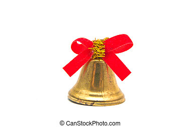 golden bell with red ribbon on white