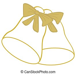 Golden Bells Outline - The outline of two golden bells with...