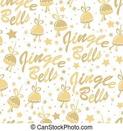 Golden bells seamless pattern