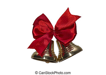 Golden bells with a red bow.