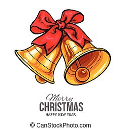 Golden bells with a red bow, Christmas greeting card