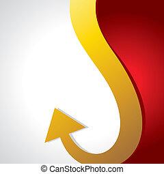 golden downward bent arrow