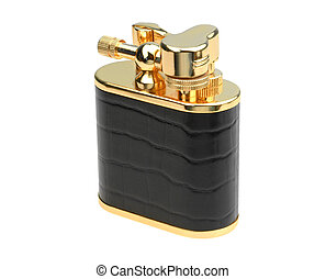 Golden benzine lighter isolated over a white background