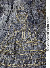 Golden Big Buddha on the mountain Khao Chi Chan, Pattaya,...