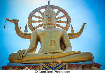 Golden Big buddha on the sky background in Koh Samui...