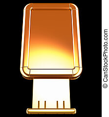 Golden Billboard or citylight isolated on black. Front view