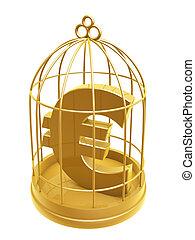 golden birdcage and euro symbol isolated on white background