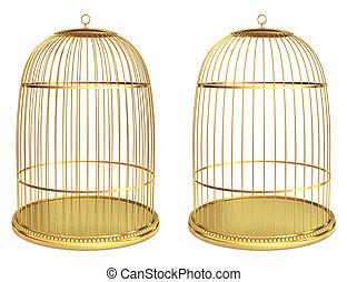 Golden birdcage isolated on white