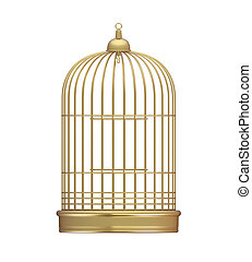 Golden Birdcage Isolated