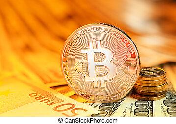 Golden Bitcoin and banknotes - Golden Bitcoin coin on ...