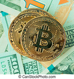 Golden bitcoin. Bitcoin cryptocurrency. Image toned in ...