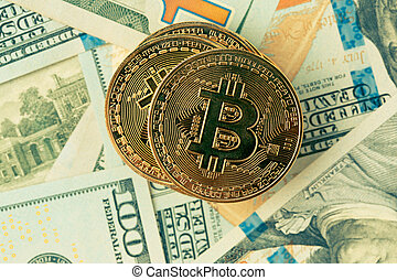 Golden bitcoin. Bitcoin cryptocurrency. Image toned in...