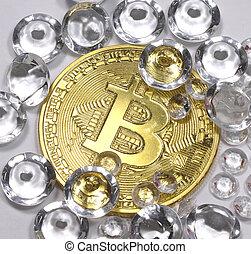golden bitcoin coin and many diamonds