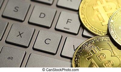 Golden bitcoin coin - Bitcoin cryptocurrency. Golden coin on...