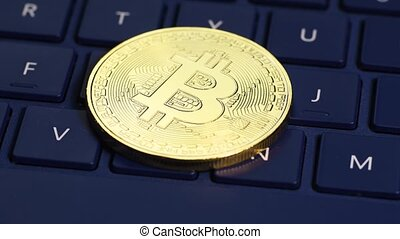 Golden bitcoin coin - Bitcoin cryptocurrency rotating...