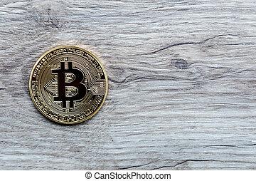 Golden Bitcoin Coin Close Up