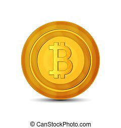 Golden bitcoin coin. Crypto currency golden coin bitcoin symbol isolated on white background. Realistic vector illustration. EPS 10