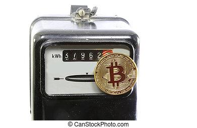 golden BitCoin coin over an electric power meter