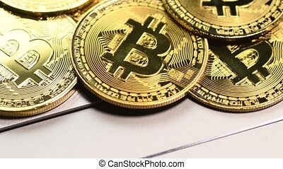 Golden bitcoin coins - Bitcoin cryptocurrency. Golden coins ...