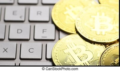 Golden bitcoin coins - Bitcoin cryptocurrency. Golden coins...