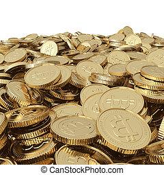 Golden bitcoin coins on white
