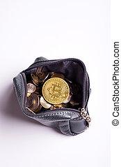golden bitcoin coins over money coins in wallet around white background