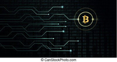 golden bitcoin crypto currency with blue binary code background