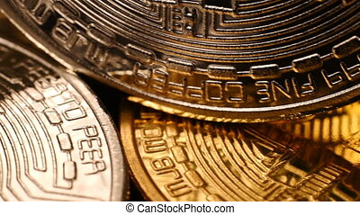 Golden Bitcoin Cryptocurrency. Virtual Coins. Business...