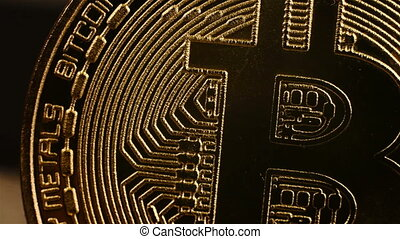 Golden Bitcoin Cryptocurrency. Virtual Coins. Extreme Close...