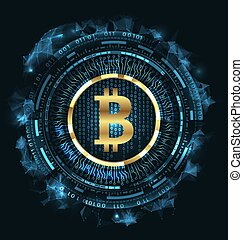 Golden Bitcoin Digital Currency, Futuristic Money. BTC,...
