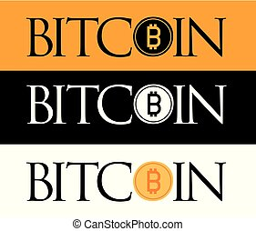 Golden Bitcoin icon isolated on golden, white and black...