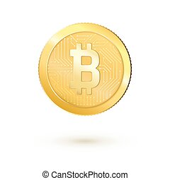 Golden bitcoin money. Realistic 3d bitcoin. Vector illustration