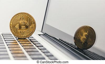 Golden Bitcoin - New virtual money on notebook