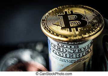 Golden bitcoin on a dollar banknote