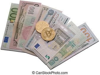 Golden bitcoin on different bills close up shot