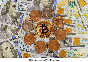 Golden Bitcoin on US dollars digital currency with US one dollar coins
