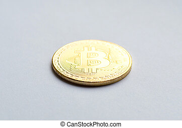 Golden bitcoin on white background. Concept mining. Copyspace