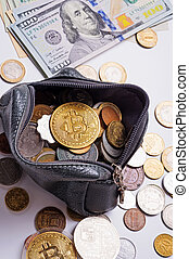 golden bitcoin over money coins in wallet around international currency coins and dollars