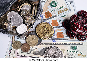 golden bitcoin over money coins in wallet around international currency coins, dollars and money toad