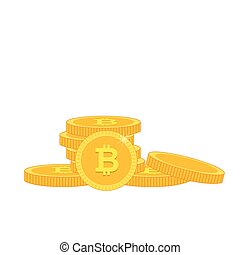 Golden Bitcoin Stack White Background Vector Image